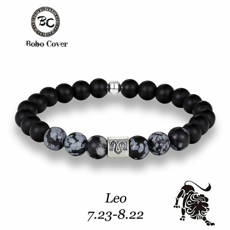 12 Zodiac Signs 8mm Matte Stone Gray Beads Bracelets Vintage Constellation Horoscope Elastic Bracelets Jewelry For