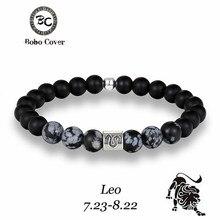 12 Zodiac Signs 8mm Matte Stone Gray Beads Bracelets Vintage Constellation Horoscope Elastic Bracelets Jewelry For Mens Women