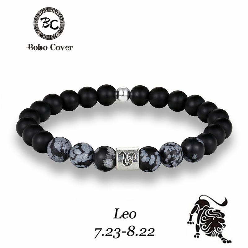 12 Zodiac Signs 8mm Matte Stone Gray Beads Bracelets Vintage Constellation Horoscope Elastic Bracelets Jewelry For Mens Women