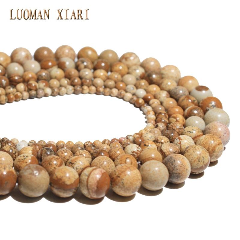 555610932477 Venta al por mayor perlas de piedra natural marrón imagen redonda cuentas  4.6.8.10.12mm Strand 15  DIY para la joyería que hace el collar de la  pulsera