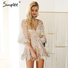 Женское блестящее мини платье Simplee в горошек, с расклешенными рукавами, сетчатое вечернее платье с пикантным V образным вырезом, с открытой спиной, с вышивкой и завышенной талией на завязке
