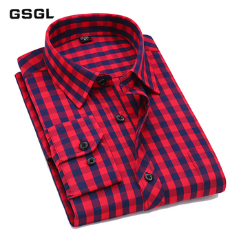 Men Casual Plaid Shirt High Quality 100% Cotton Long Sleeve Male Shirts Square Grid Social Business Casual Shirt