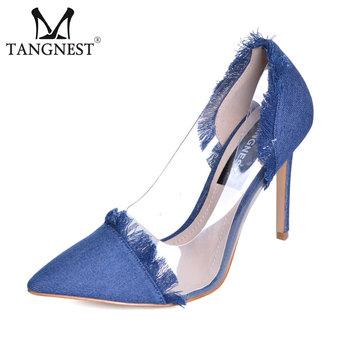 34d3b215eb0 Read More Tangnest Retro Denim Women s Pumps Sexy Pointed Toe Transparent High  Heels Party Elegant Tassel Thin High Heel Shoes WXG463
