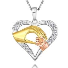 AAAA, модный подарок на день матери, в форме сердца, 24 k, золотой кулон пальма, ожерелье, кристалл, Женские Ювелирные изделия, вечерние, свадебные украшения