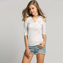Women Off Shoulder Lace Up V-neck Slim Solid Tops