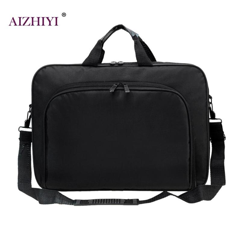 Men/Women Business Nylon Computer Handbags Portable Unisex  Shoulder Office Laptop Simple Bags Briefcase Black Totes 15 Inches