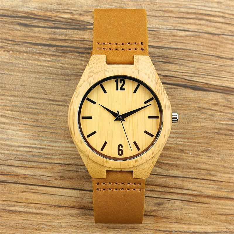New Fashion Men Handmade Nature Bamboo Watch Women Casual Genuine Leather Simple Dial Unisex Classic Gift Clock Reloj De Madera