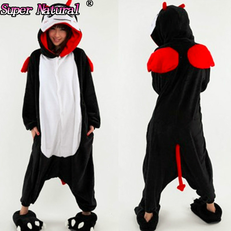 HKSNG High Quality Winter Women Girls Adult  Animal Devil KigurumI Evil Spirit Pajamas Onesie Cosplay Belial Pyjamas Sleepwear