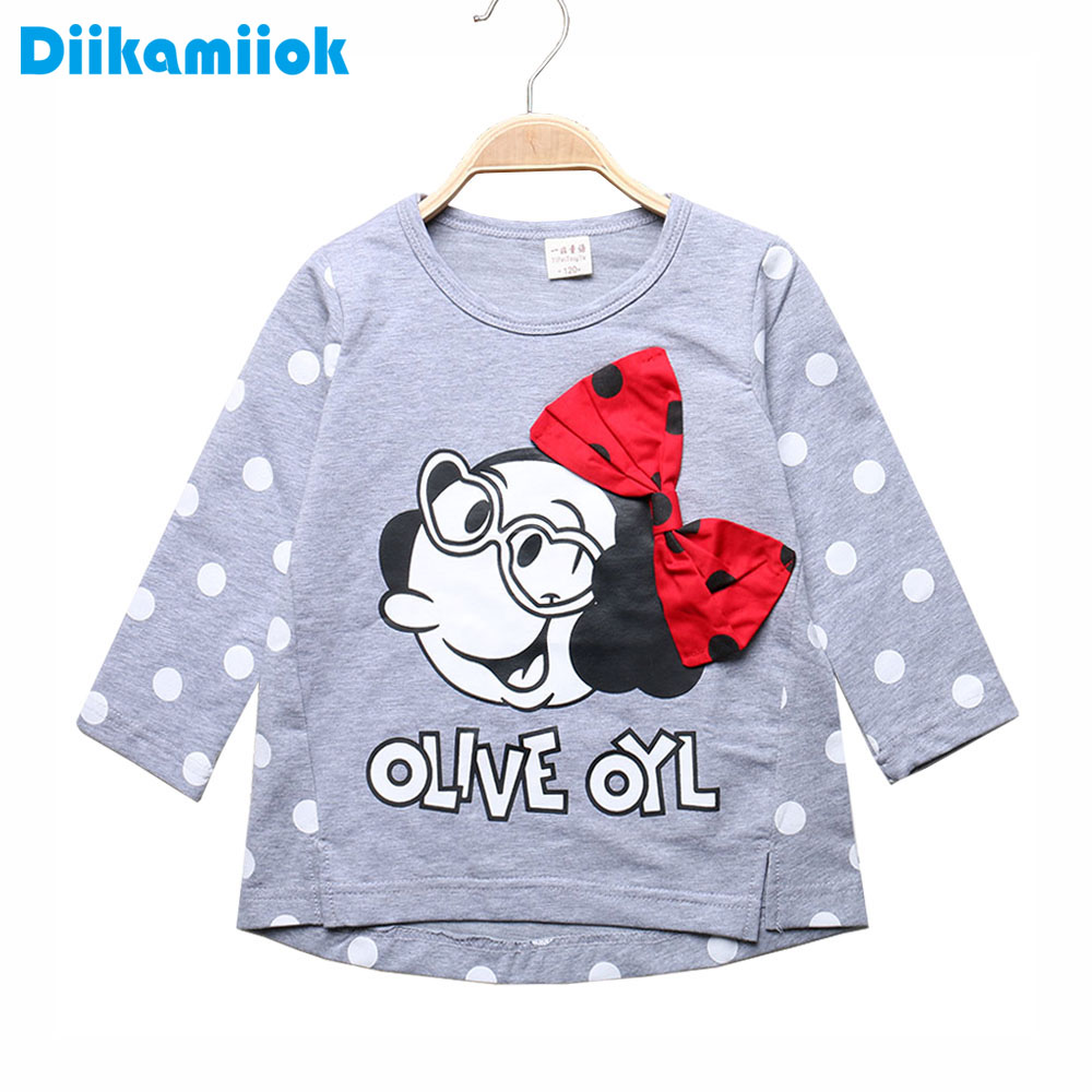 Girls T-Shirts Tops Long-Sleeve Kids Summer Sale Spring for Patchwork Tees 3-6t/yf002