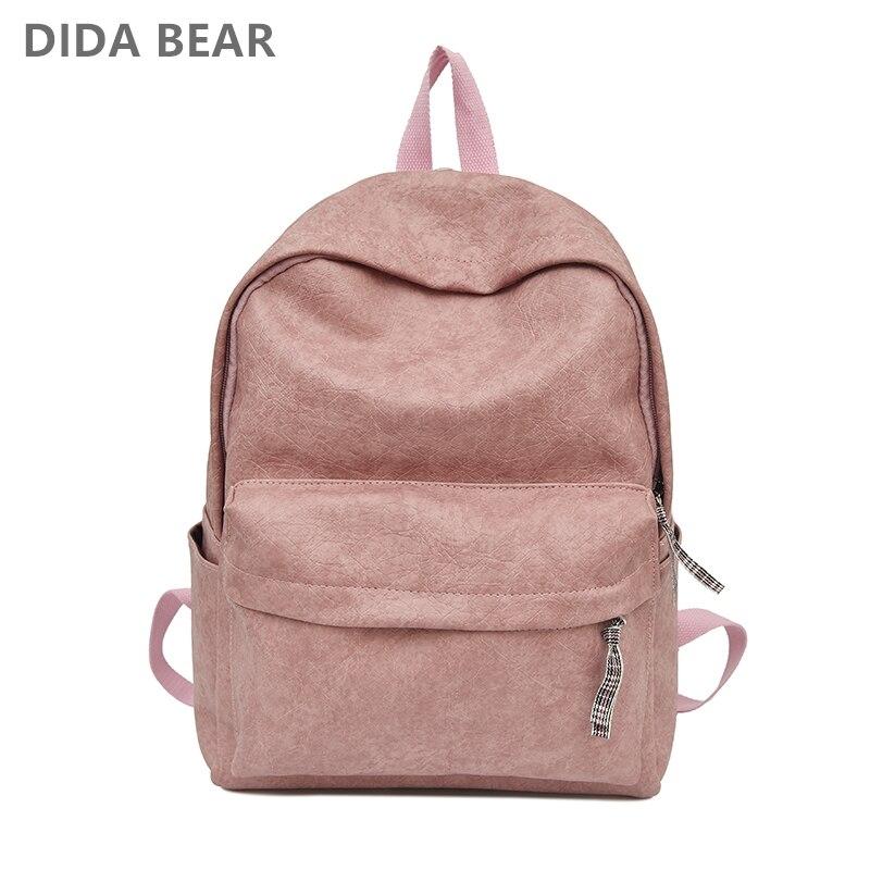 1a37cc2bfe04 DIDABEAR Fashion Leather Shoulder Bag Women Backpack School Backpacks For Teenage  Girls Female Rucksack Bolsas Mochilas Black