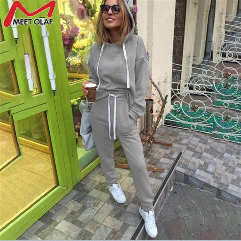 Image 4 - 2019 New Autumn Tracksuit Long Sleeve Thicken Hooded Sweatshirts 2 Piece Set Casual Sport Suit Women Hoodies Pants Set CC1482-in Women's Sets from Women's Clothing