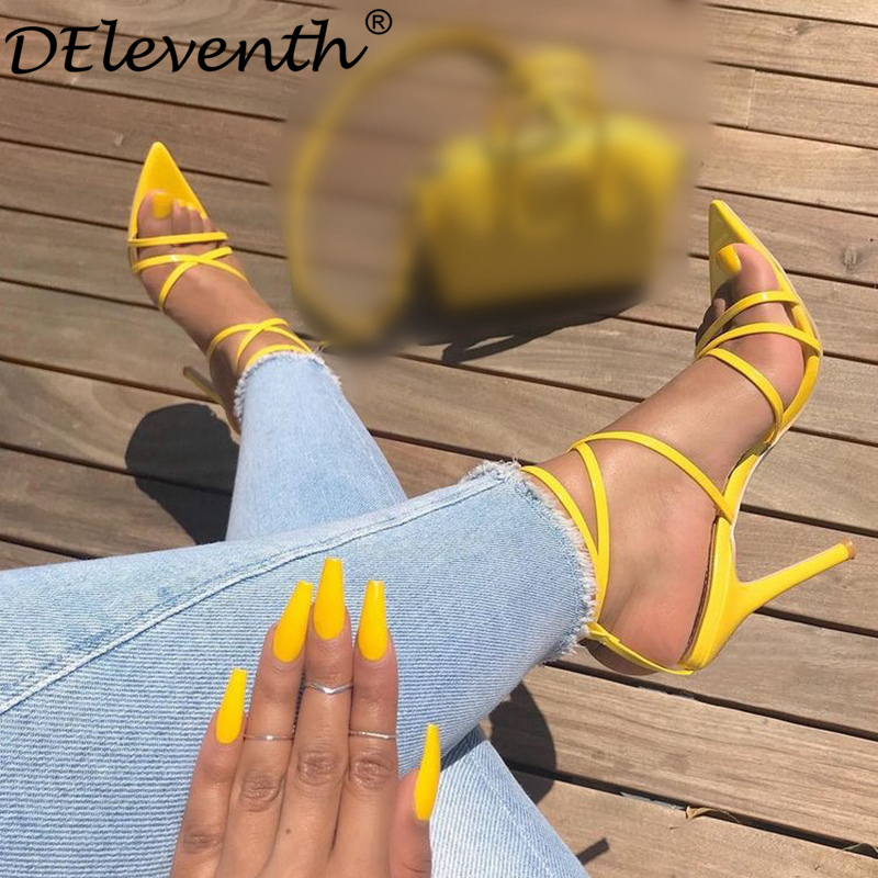 DEleventh New Designer Brand Fashion Pointed Toe Nichole High Heels Sandals Gorgeous Party Wedding Shoes SIMMI INS lILLY Yellow