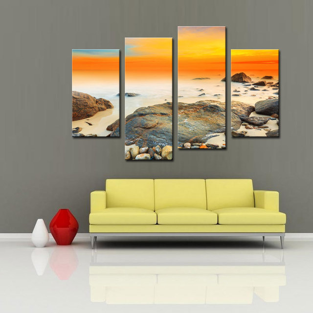 4 Panels Landscape Wall Art Oil Painting On Canvas Abstract Wall Art ...