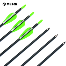 80cm Spine 700 Carbon Arrows with 2 Green and 1 White Plastic Feather for Recurve Compound Bow Archery Shooting 6/12/24pcs