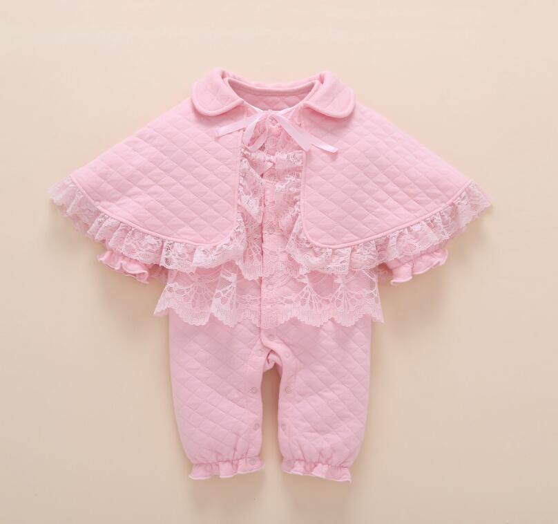 1 комплект осенне-зимней одежды для новорожденных девочек, теплое боди средней плотности с подкладкой, накидка, носки и повязка на голову, Подарочный костюм для малышей 2