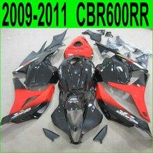 Литья под давлением бесплатно настроить обтекателя комплект для Honda CBR 600RR 09-12 черный красный обтекатели комплект CBR600RR 2009 2010 2011 2012 59NJ