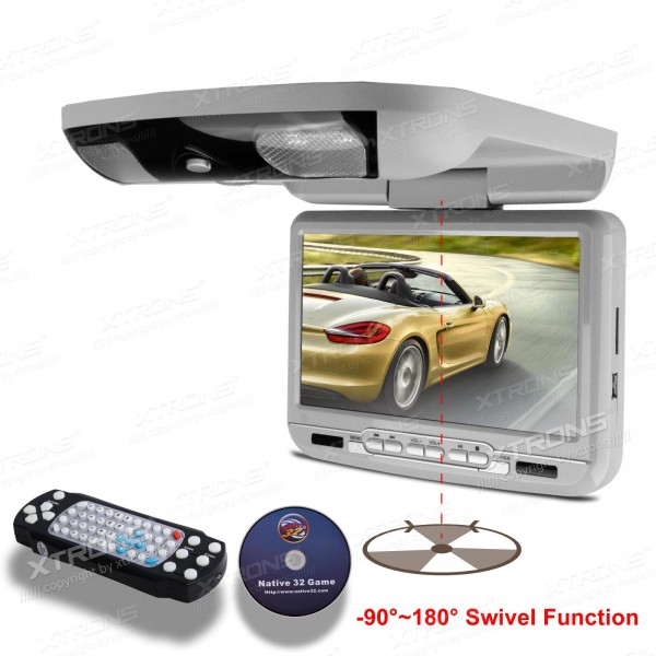 9″ Grey Color Car Roof Monitor DVD Player radio with DVD/ SD/ USB/ 32 Bits Game/ Built in IR/FM Transmitter and Built-in Speaker