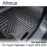 Atreus NEW 1Set TPE Car Floor Foot Mat For Toyota Highlander 7 Seats 2015 2016 2017 2018 Car styling Anti slip Waterproof Carpet