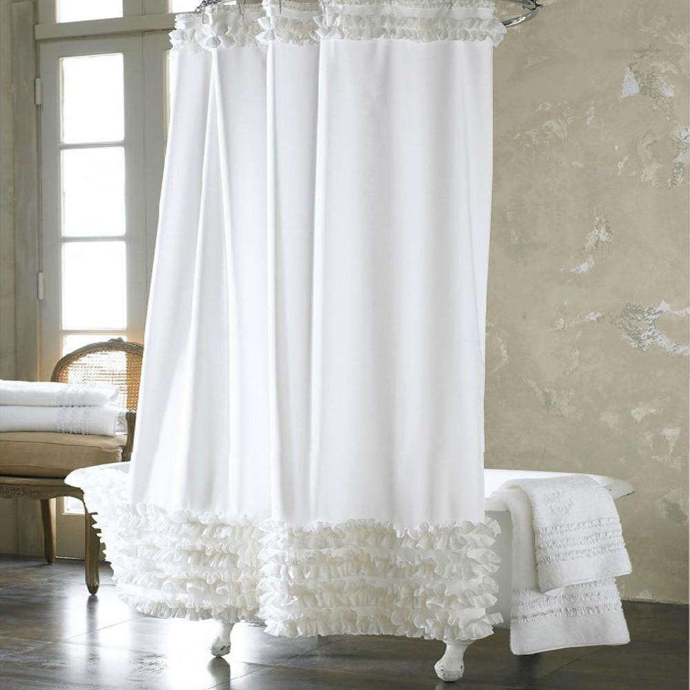 Ruffle bathroom curtain - Home Decoration Bathroom Shower Curtain Waterproof Moldproof Solid Polyester Fabric Lace Bath Curtain Elegant Cortina