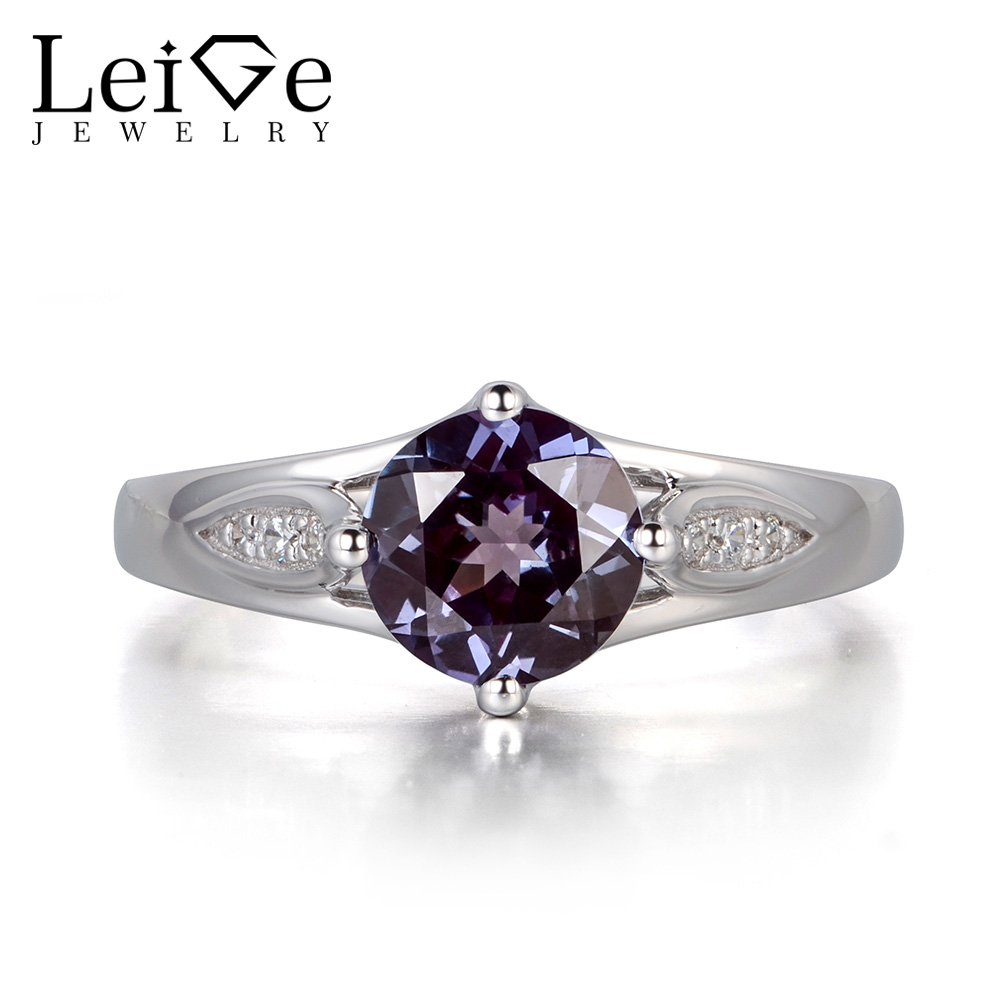 Leige Jewelry Alexandrite Ring Round Cut Gemstone Sterling Silver 925 Wedding Engagement Rings for Women Color Changing 6pcs of stylish color glazed round rings for women