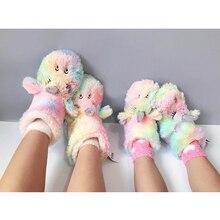 Unicorn Sandal Bayi Anak Sandal Anak Musim Dingin Anak Hangat Sandal Jepit Hewan Kapas Rumah Sepatu Laki-laki Perempuan Kapas sandal