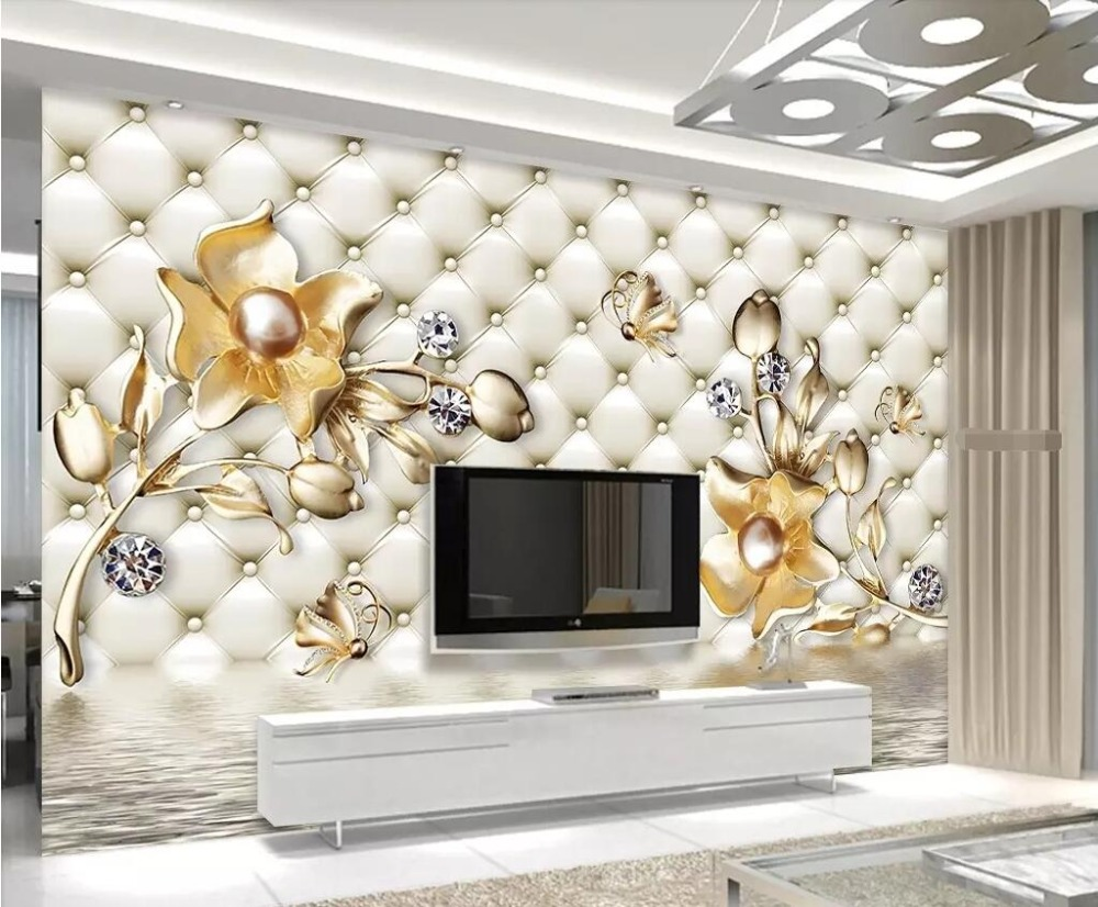 Beibehang Custom wallpaper 3d luxury soft bag golden flower jewelry TV  background wall living room bedroom mural 3d wallpaper