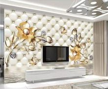 Beibehang Custom wallpaper 3d luxury soft bag golden flower jewelry TV background wall living room bedroom mural 3d wallpaper beibehang custom wallpaper mural 3d blue flower hotel living room wall 3d wallpaper wall sticker wallpapers for living room