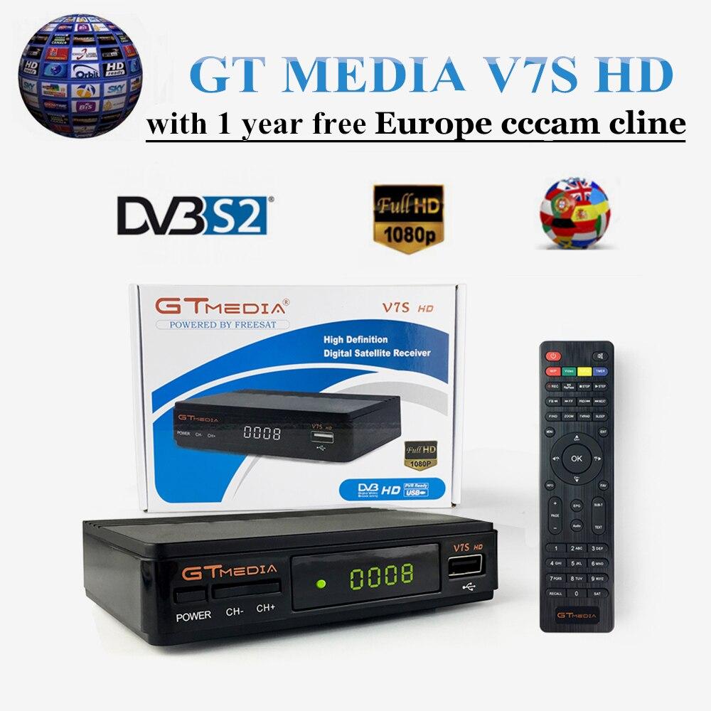 Nouveau GT MEDIA V7S HD DVB-S2 gratuit SAT V7 HD récepteur TV Satellite + gratuit 1 an Europe cccam cline espagne décodeur Satellite