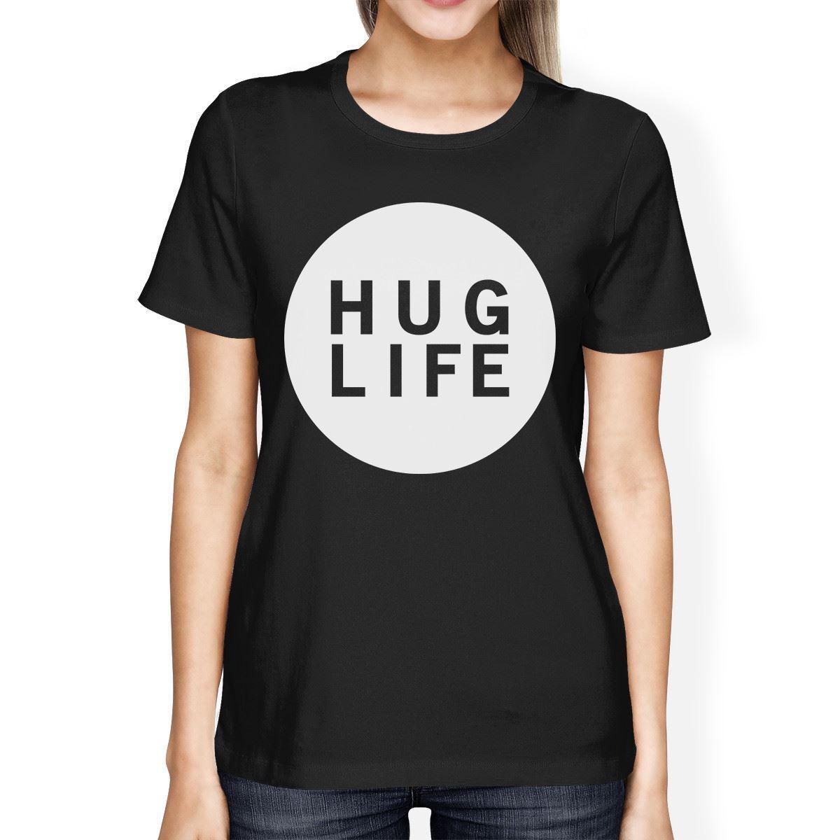 Jay z black t shirt white cross - Hug Life Women S Black T Shirt Short Sleeve Simple Graphic Shirt Female Fashion Cotton Hip