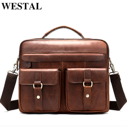 WESTAL Bag Men's Genuine Leather Messenger Shoulder Bag for Men Business Laptop Briefcase Male Crossbody Bags for Documents 8001