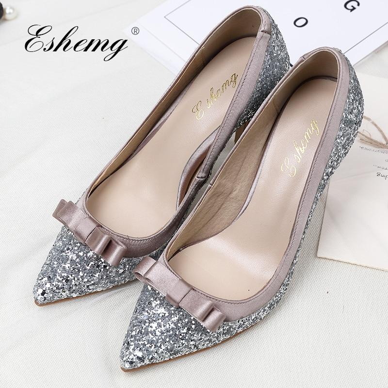 Demoiselles Partie Argent 2018 Mariage Chaussures Femmes Mariée Main Talon Pointu De Eshemg Bling D'honneur Bout 0nx760