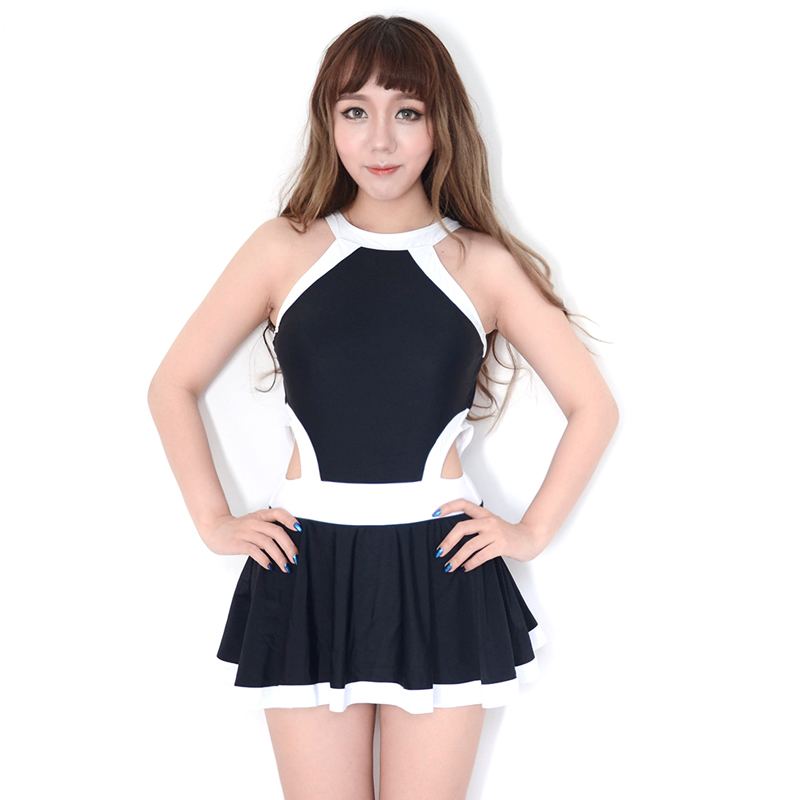 8499d496ef Japanese Women Sexy Crotch Bottom Zipper One Pieces Swimsuit Side Cut-outs  Push UP Underwire Slimming Skirted Bathing Suit