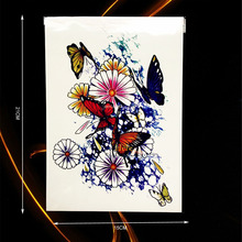 1PC Removable Flash Temporary Tattoo Colorful Flower Butterfly Design Waterproof Arm Back Tatoo Body Art Tattoo Stickers HHB-318