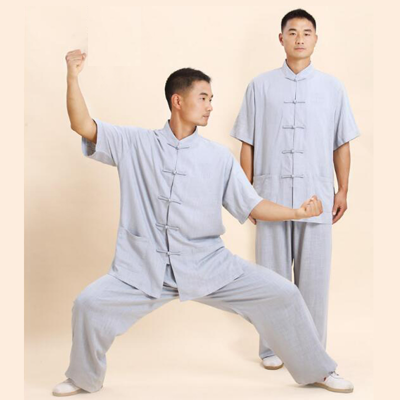 7006542ab High Quality Linen Tai Chi Uniform Martial Arts Suit Wushu Kung fu Clothes  Short Sleeve Wingchun