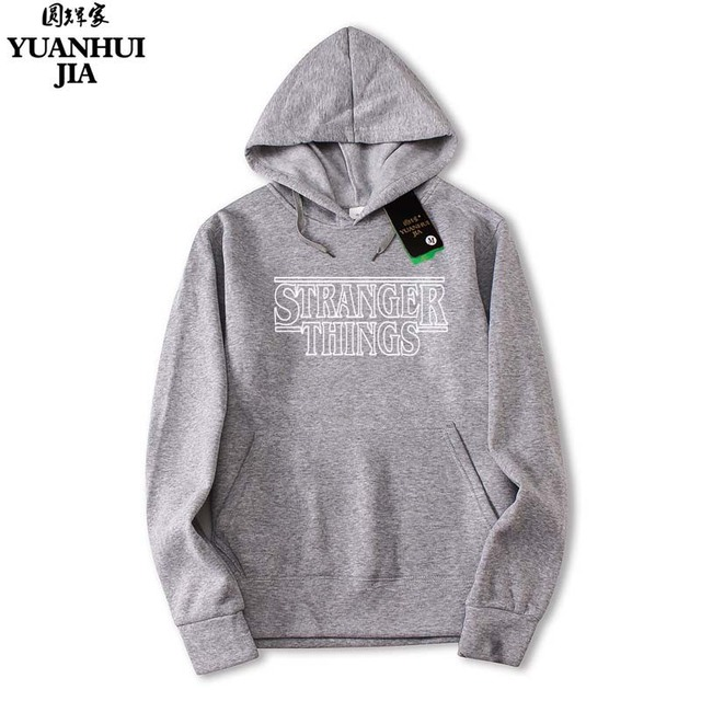 2018 Trendy Faces Stranger Things Hooded Mens Hoodies and Sweatshirts Oversized for Autumn with Hip Hop Winter Hoodies Men Brand 3