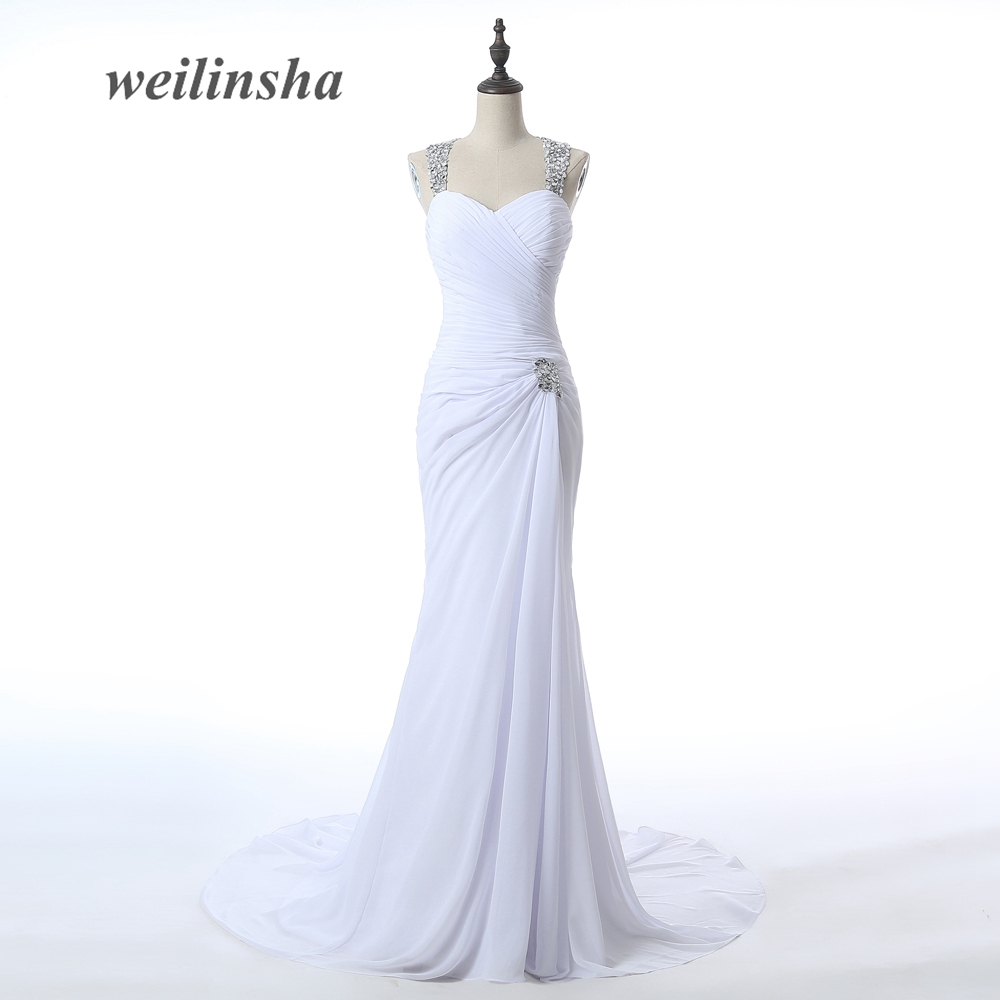 weilinsha Hot Sale Sexy High Slit Chiffon Wedding Dresses 2017 Halter Neck Vestidos de Novia Delicate