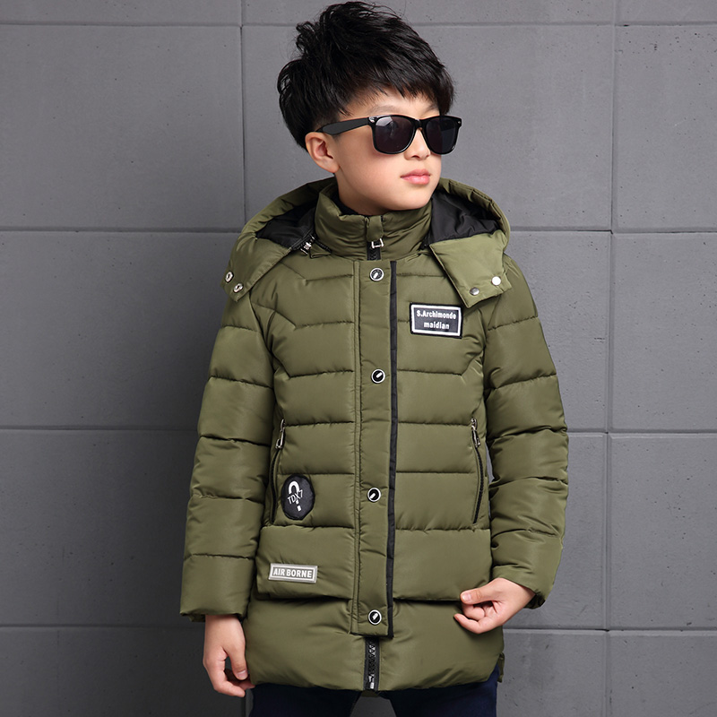 ФОТО Boys Winter Outwear Down Coat Children Baby Boy Clothes Fashion Outwear England Style Children Jacket Cotton Down Coat