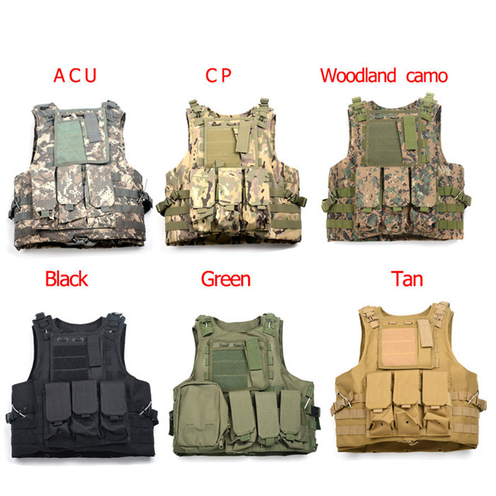 Multi Colors Camo US Army Combat Assault Vest Molle 800D Airsoft Paintball Oxford Security Military Tactical Vest Many Pouches