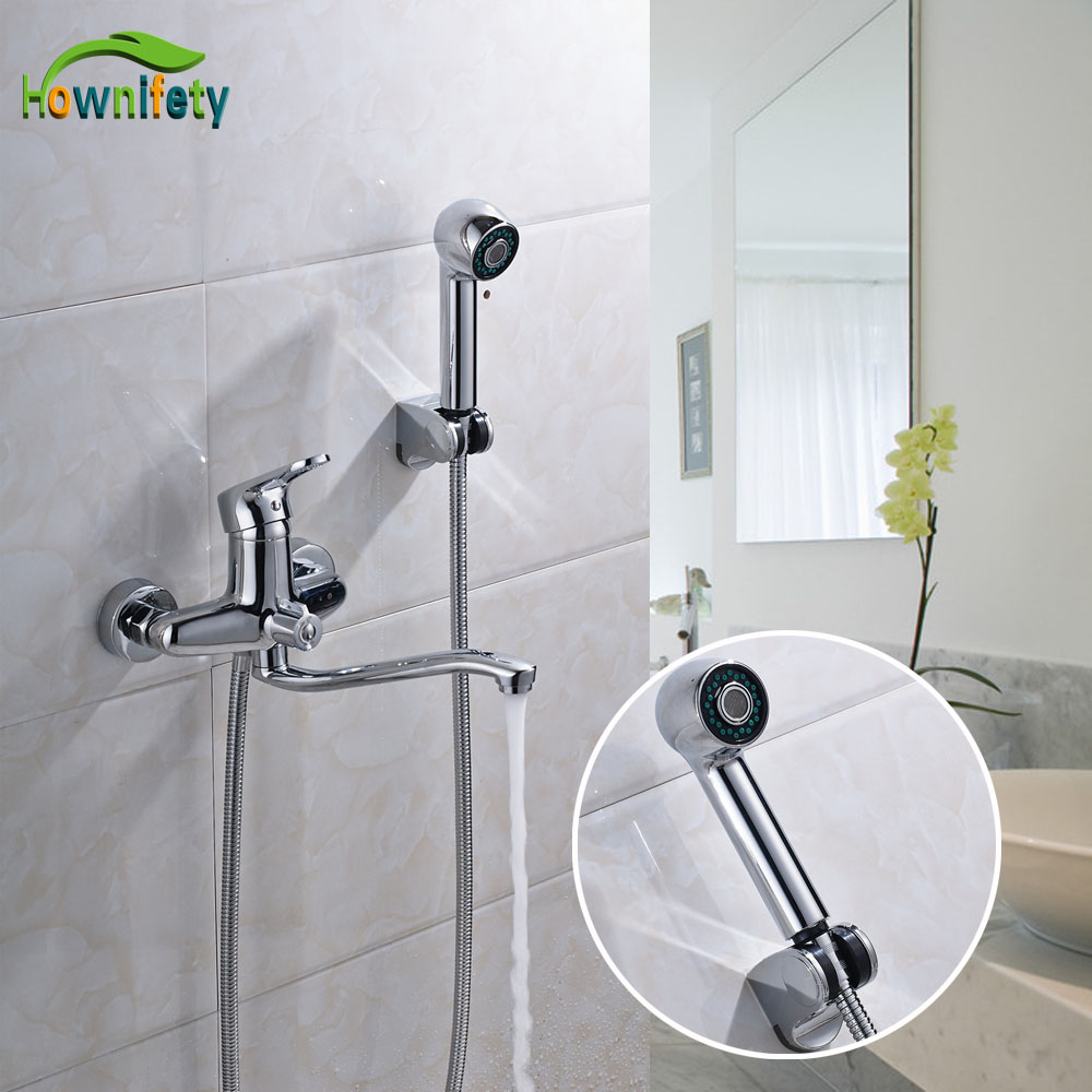Chrome Polished Bathroom Shower Faucet Swivel Spout Single Handle Bathtub Mixer Tap with Hand Shower Wall Mounted chrome polished bathroom shower faucet bathtub swivel spout mixer tap with hand shower wall mount