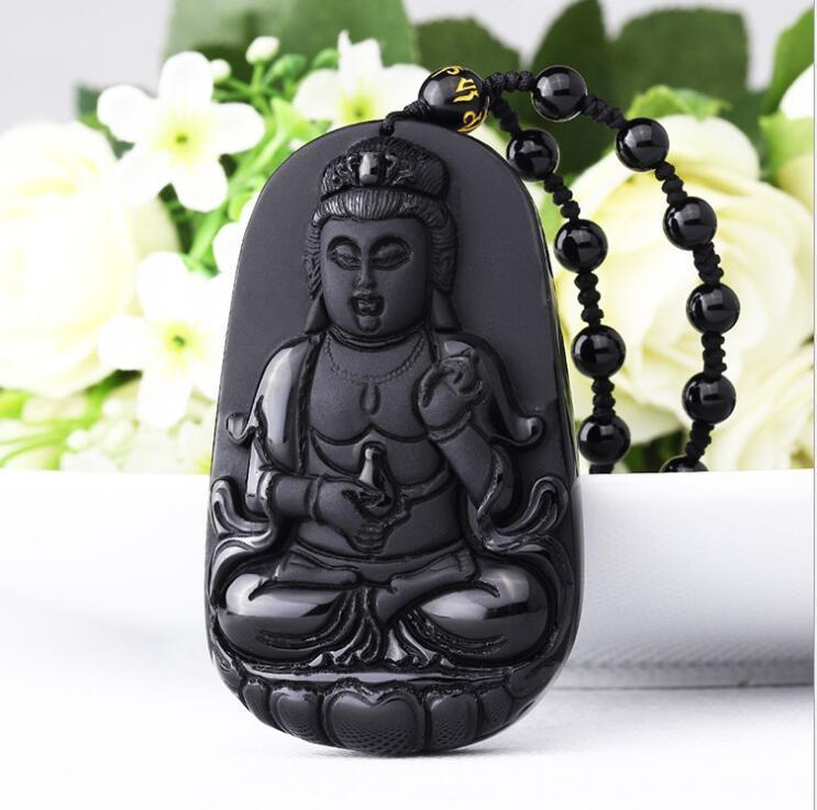100% Natural Obsidian Hand Carved Guanyin Bodhisa Lucky Pendant Necklace100% Natural Obsidian Hand Carved Guanyin Bodhisa Lucky Pendant Necklace