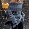 С плеча упругие зимний свитер женщины серый Кисточкой пуловер сексуальный Дизайн Пуловеры Свитера Осень bodycon основные трикотаж топ