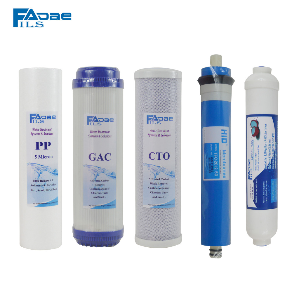 Universal 5 Stage Reverse Osmosis System Replacement Filter kit 10in. PP/GAC/CTO/50G Membrane Elements/Inline Post Carbon Filter