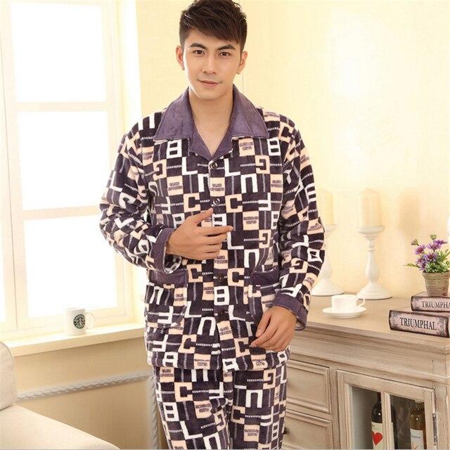 Зима новый Кардиган Мужские фланелевые пижамы С Длинными рукавами брюки Простой атмосфера Утолщение Держите теплый дом