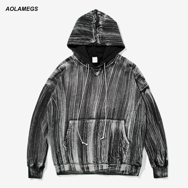Aolamegs Men Hoodies Fashion Tie Dye Washed High Street Hoodie Chic Vintage Loose Hip Hop Hooded Pullover Male Streetwear Tops