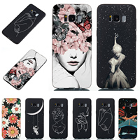 For Samsung  S8 + S9 Plus Slim Silicone Soft Black TPU Anti-Knock Case Cover Pattern Girly Flowers