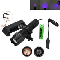 Purple Violet Light 395nm UV Flashlight Adjustable Focus LED Blacklight Torch + Remote Pressure switch+Battery+Charger