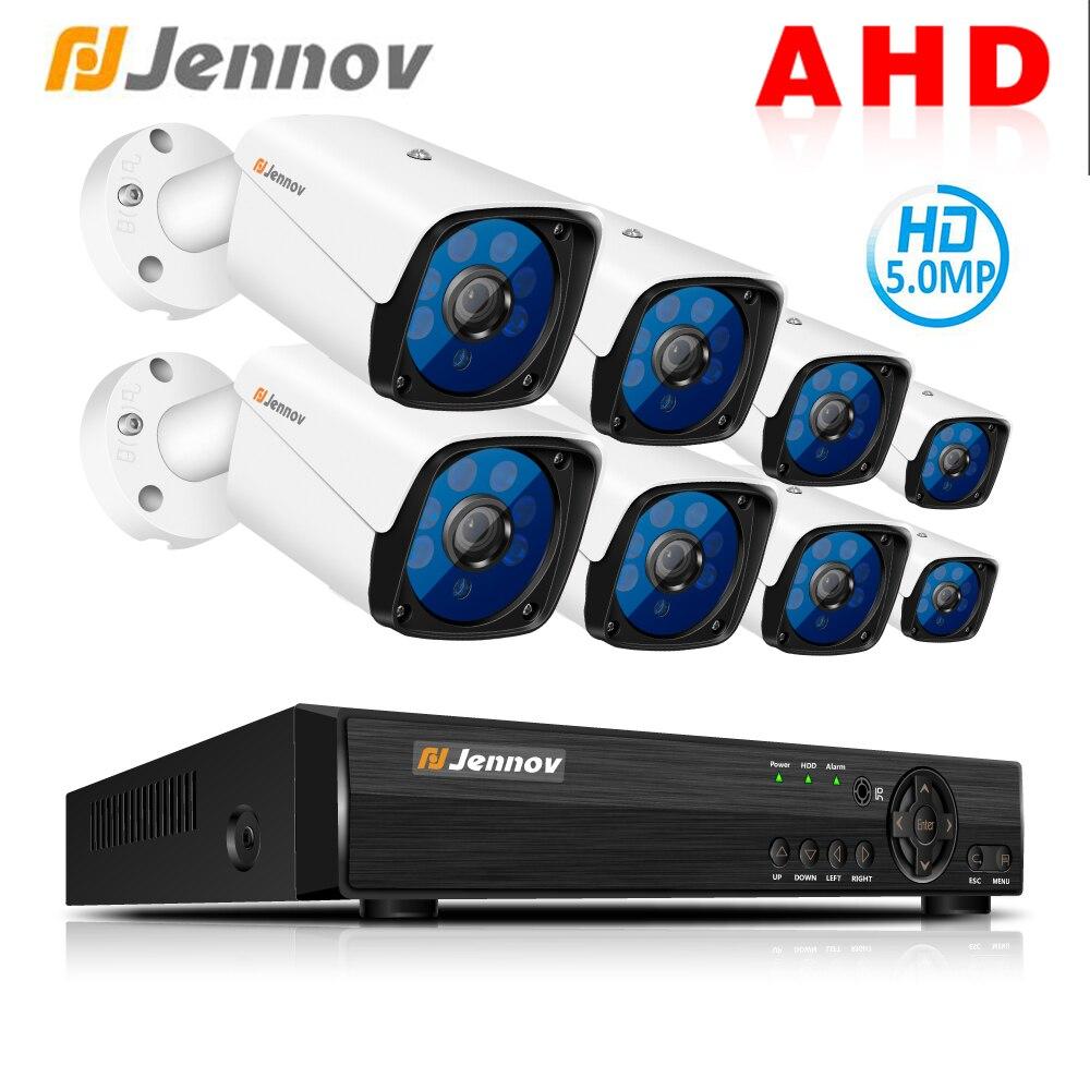 Jennov HD 5MP H.265 Vidéo Surveillance 8 Caméras caméra de sécurité Ensemble Pour CCTV Système de caméra de sécurité En Plein Air caméra ahd DVR P2P