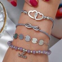 Bohopan 4PCS/Set Fashion Light Purple Beads Bracelets Simple Double Hollow Out Heart Boho Bangles For Gifts