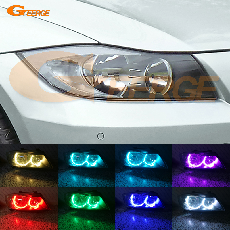 For BMW 3 Series E90 E91 2005 2006 2007 2008 Halogen headlight Excellent Ultra bright Multi-Color RGB LED Angel Eyes Halo Rings