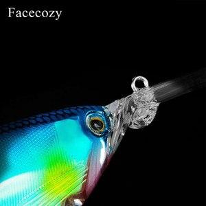 Image 5 - Señuelo luminoso revestido láser Facecozy cebo Artificial Minnow cebo nadador 1 pieza 11cm Señuelos de Pesca Crankbait altamente realista dos anzuelos